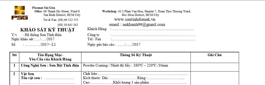 Phiếu khảo sát kỹ thuật An Khanh Co,.Ltd